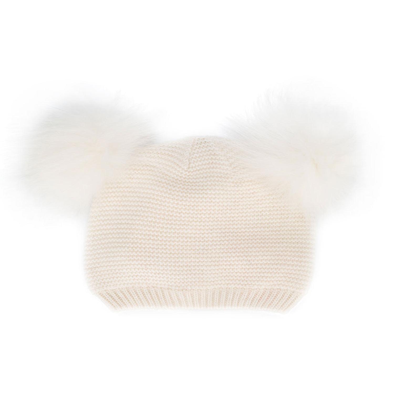 Monnalisa - Cappello Bimba Pon Pon Panna - annameglio.com shop online fd1d47ba7712