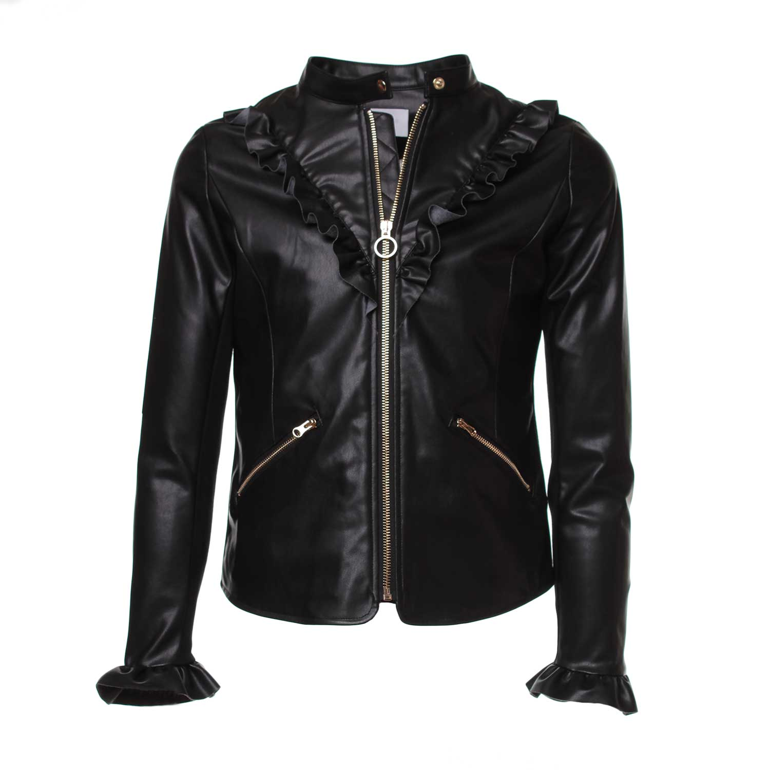 purchase cheap 5a723 9678c Giacca Biker Girl Nera Rouches