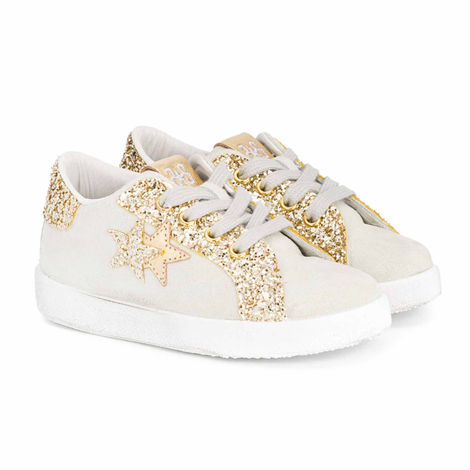 new product d6a27 acddd Sneaker Low Bianca Oro Bambina
