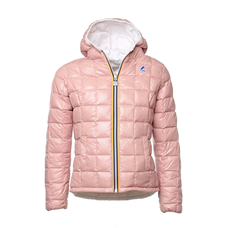 K Way Piumino Reversibile Bianco E Rosa Iconico piumino