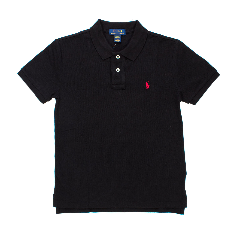 Ralph Lauren - Slim Fit Cotton Mesh Polo Boy Black - annameglio.com shop  online 6290791e44737