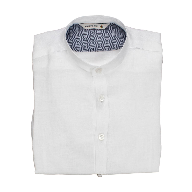 negozio online df2d9 aff95 Camicia Coreana In Lino Bianco Bambino Teen