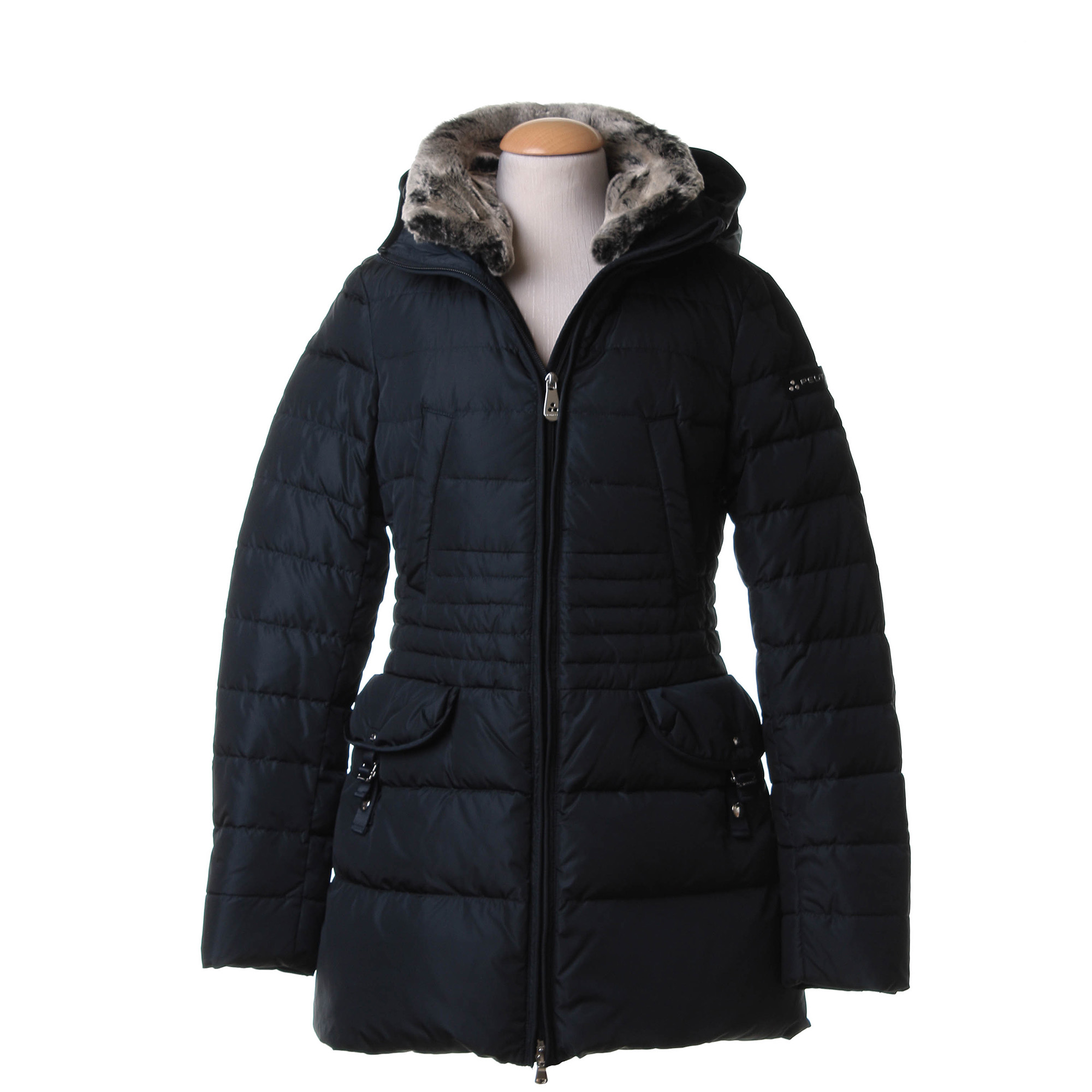 pretty nice 049da a43c7 Long Quilted Down Jacket With Fur