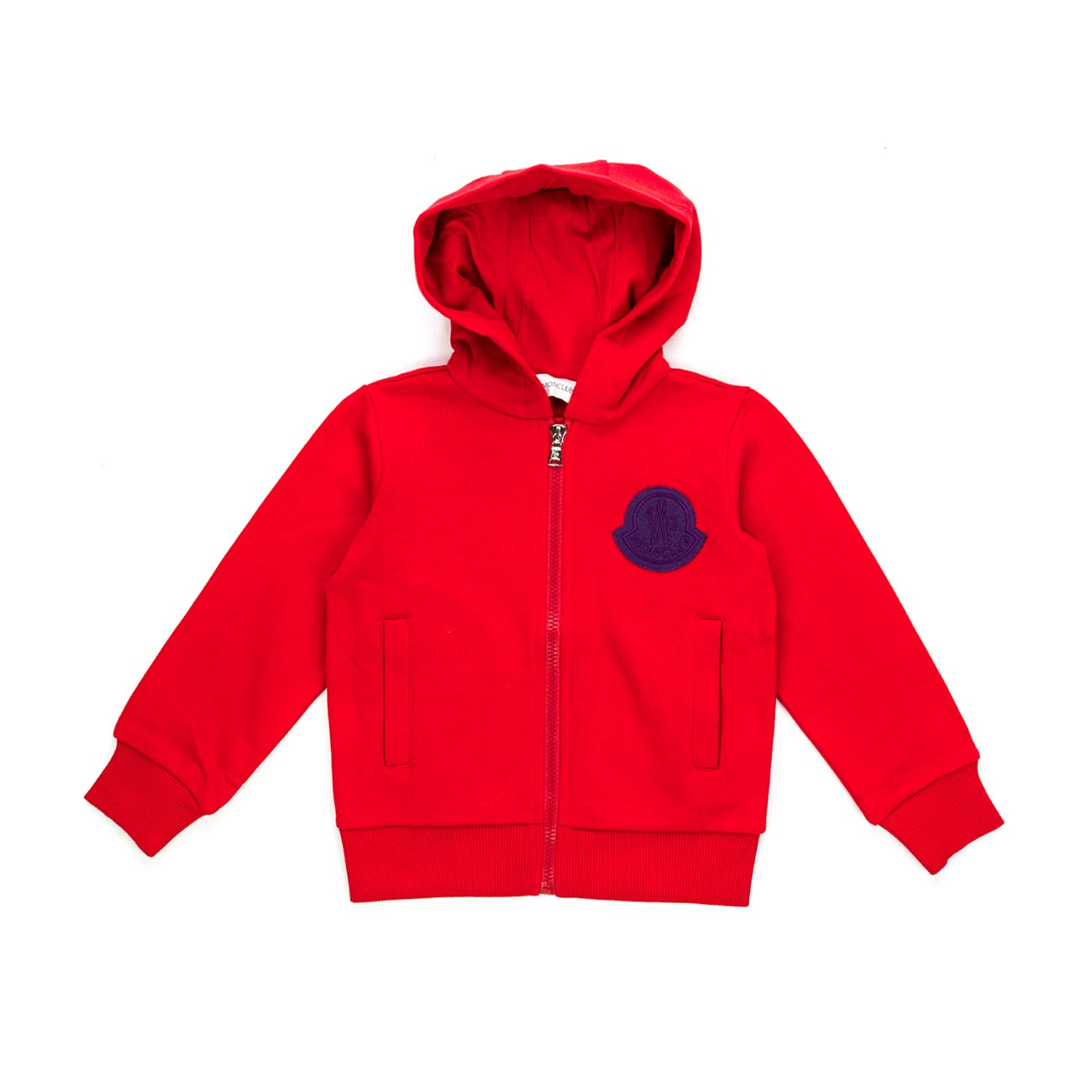 297072645 Moncler - Red Sweatshirt With Zip For Boys - annameglio.com shop online
