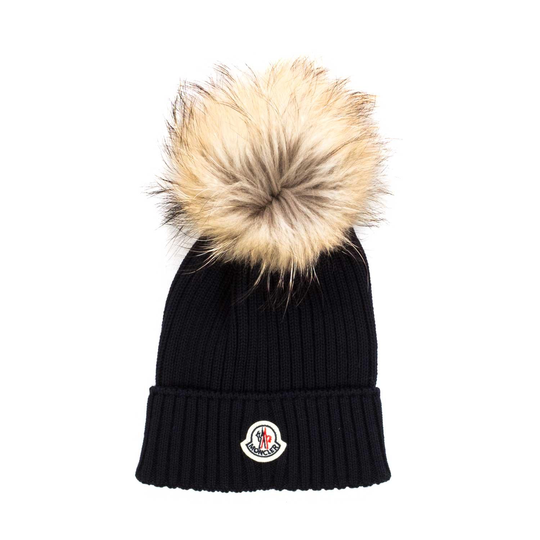 Moncler - Girl Blue Knitted Bobble Hat - annameglio.com shop online a859a674742c