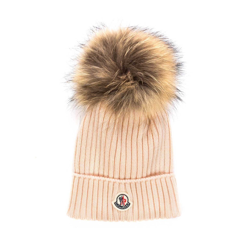 b05dcbe2abf Moncler - Girl Pale Pink Bobble Hat - annameglio.com shop online