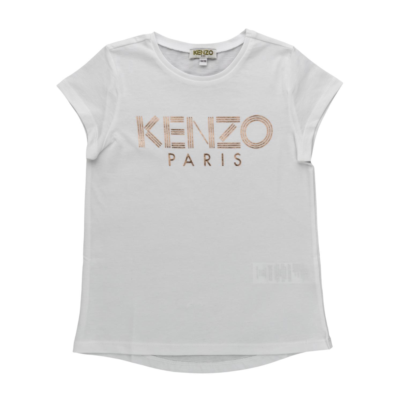 212d5dab Kenzo - White Logo Print T-Shirt For Girls - annameglio.com shop online