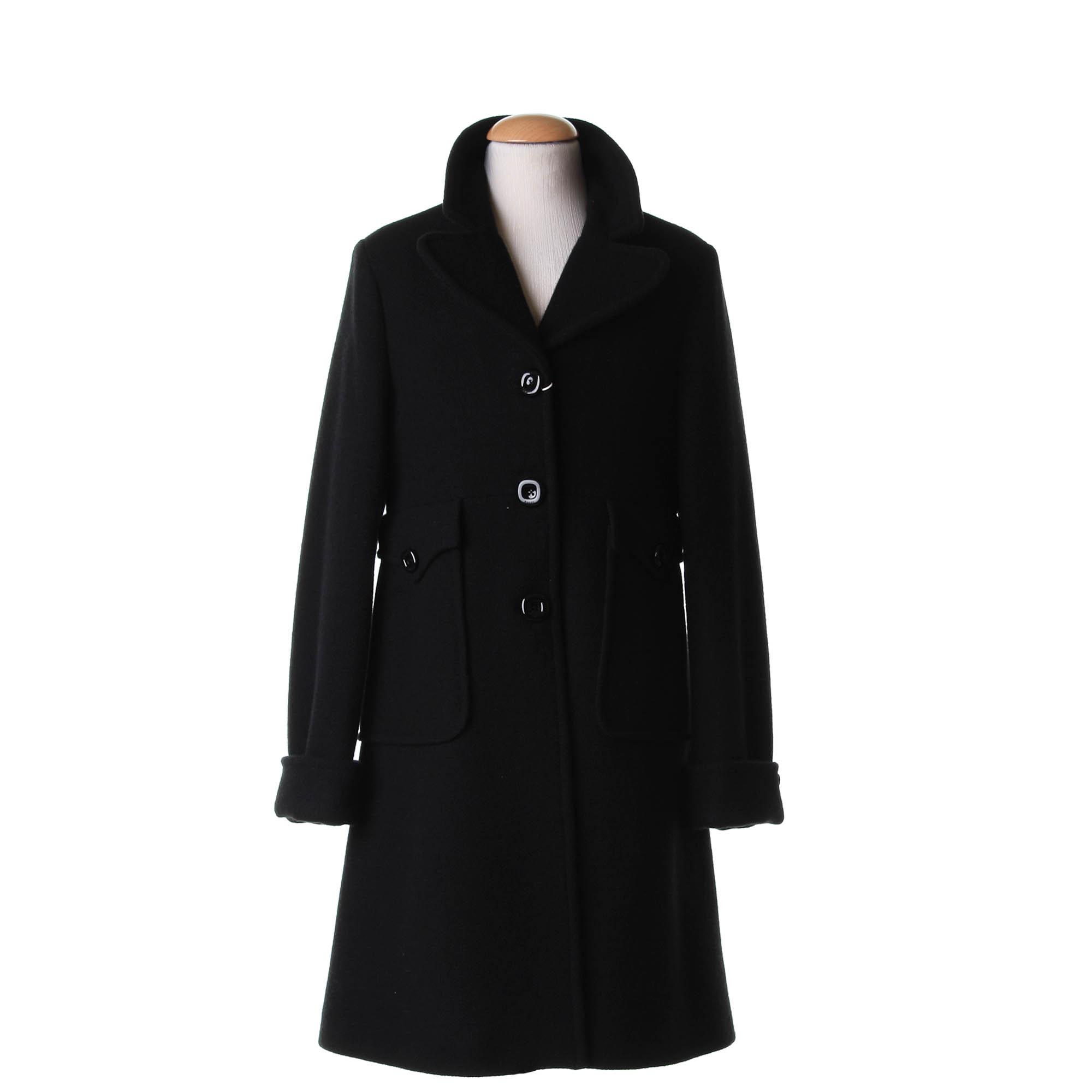 Cappotto Elegance Nero In Lana E Cachemire