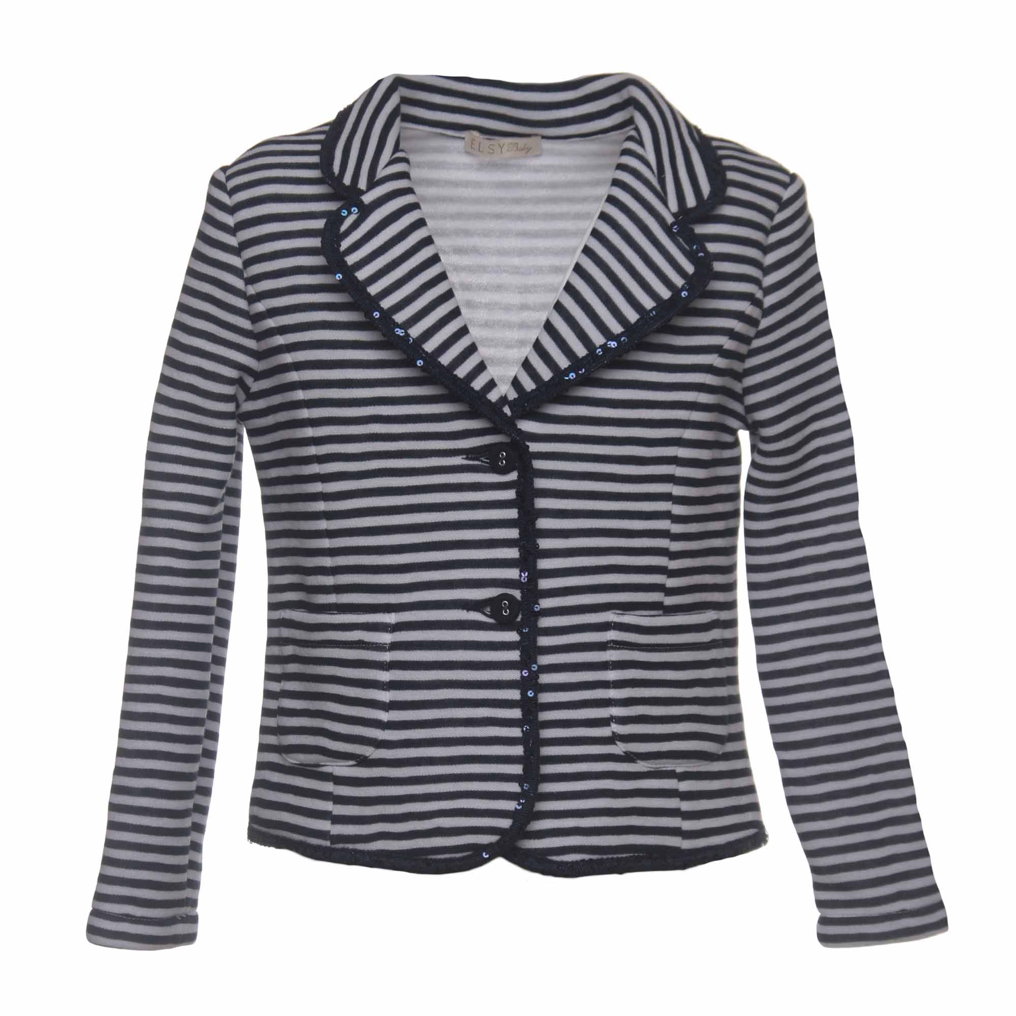 competitive price 16404 6e78c Giacca Bambina Navy Style Bianca E Blu In Jersey