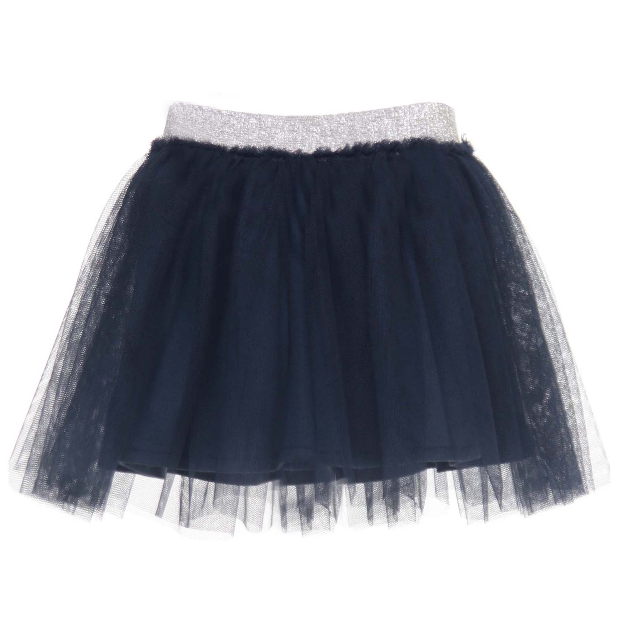 Elsy Gonna Corta Baby In Tulle Blu Notte E Argento