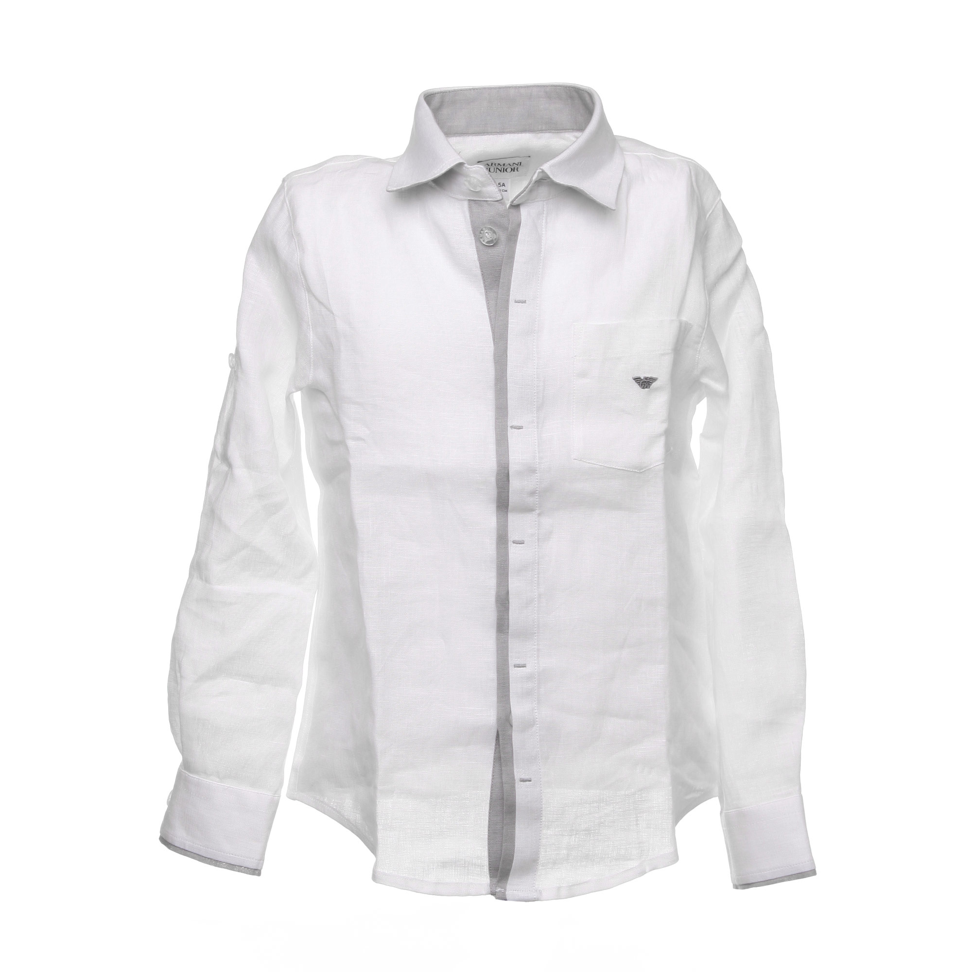 dc51ec34ac9a Armani Junior - White Linen Shirt With Gray Inserts For Boys ...