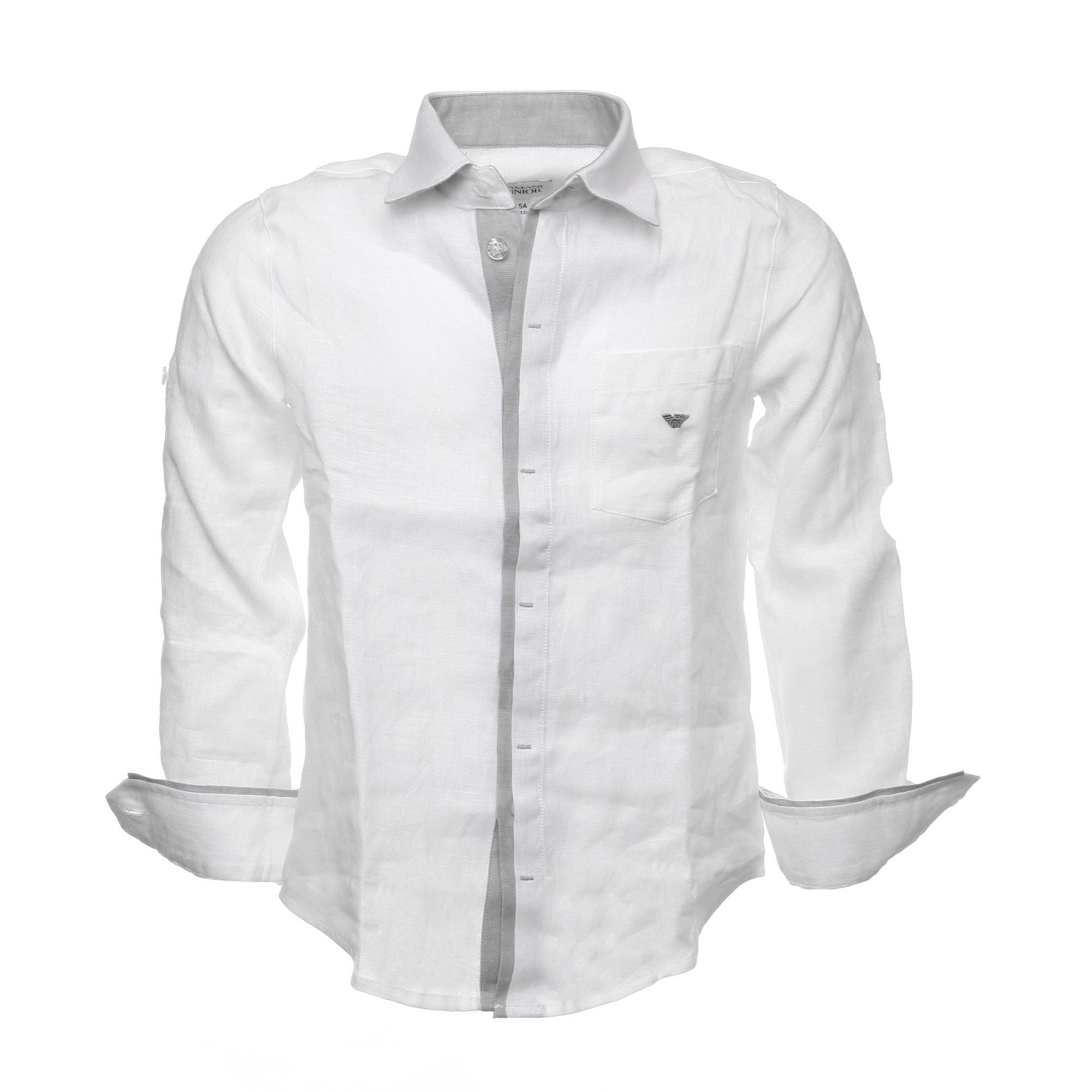 cheaper f7c4d afa87 Camicia Bianca In Lino Con Inserti In Grigio