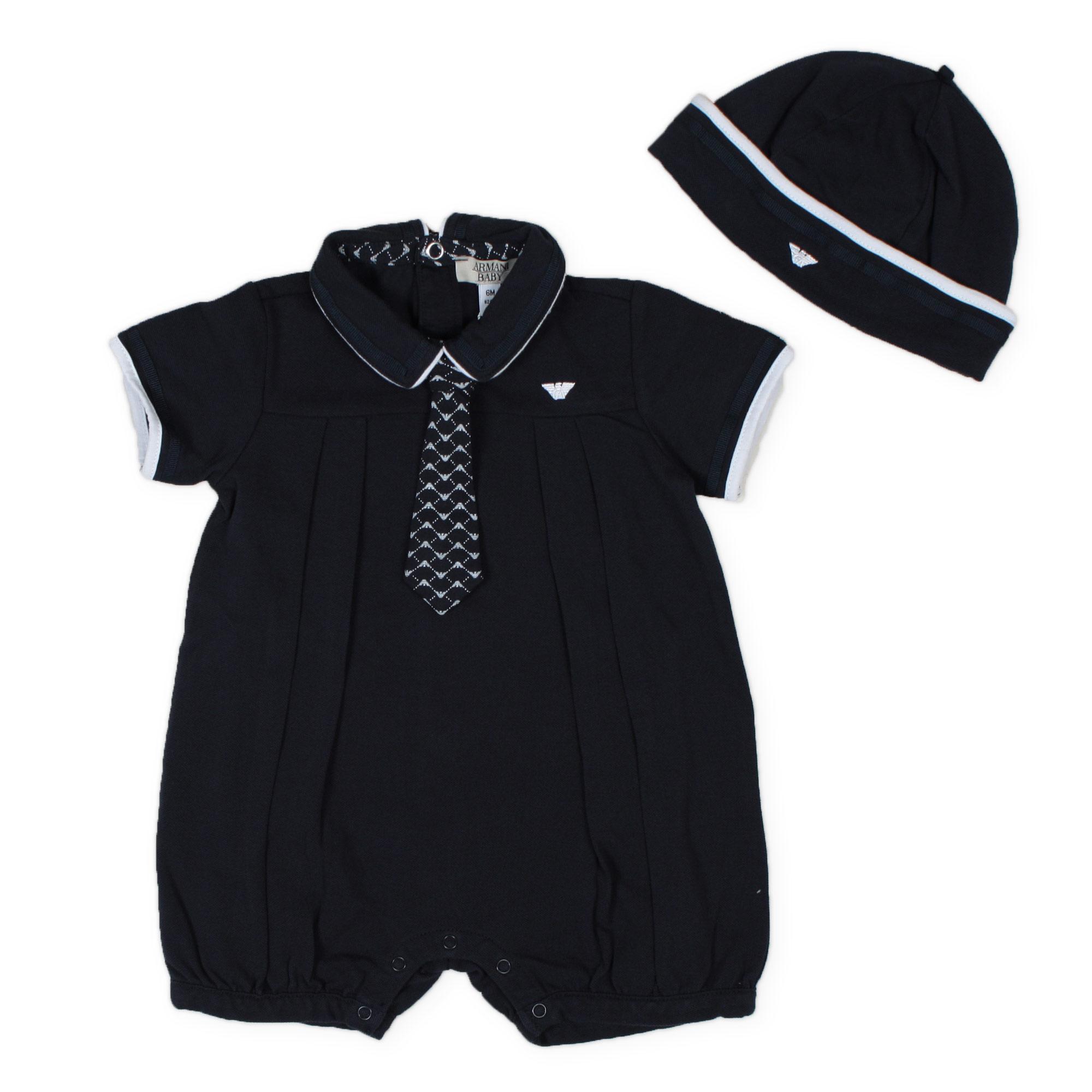 Armani Junior - Set Bebè Pagliaccetto E Cappellino Piquè Blu ... 49018da6a773