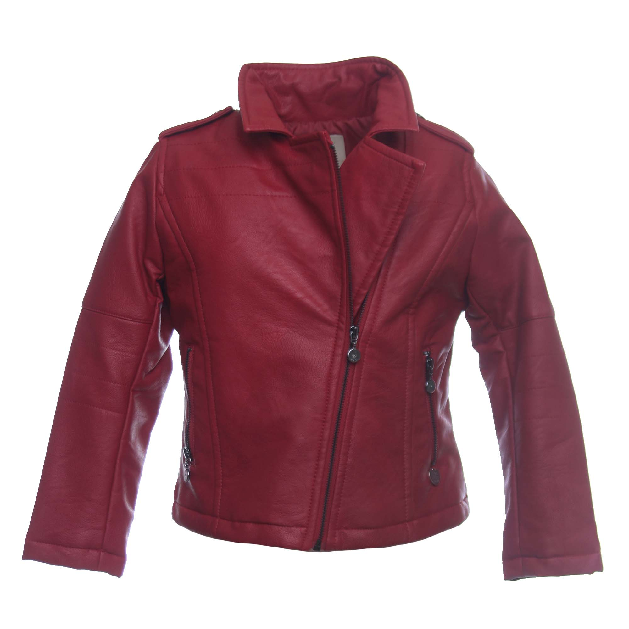 reputable site 4d43c 82acb Giacca Biker Bambina In Ecopelle Bordeaux