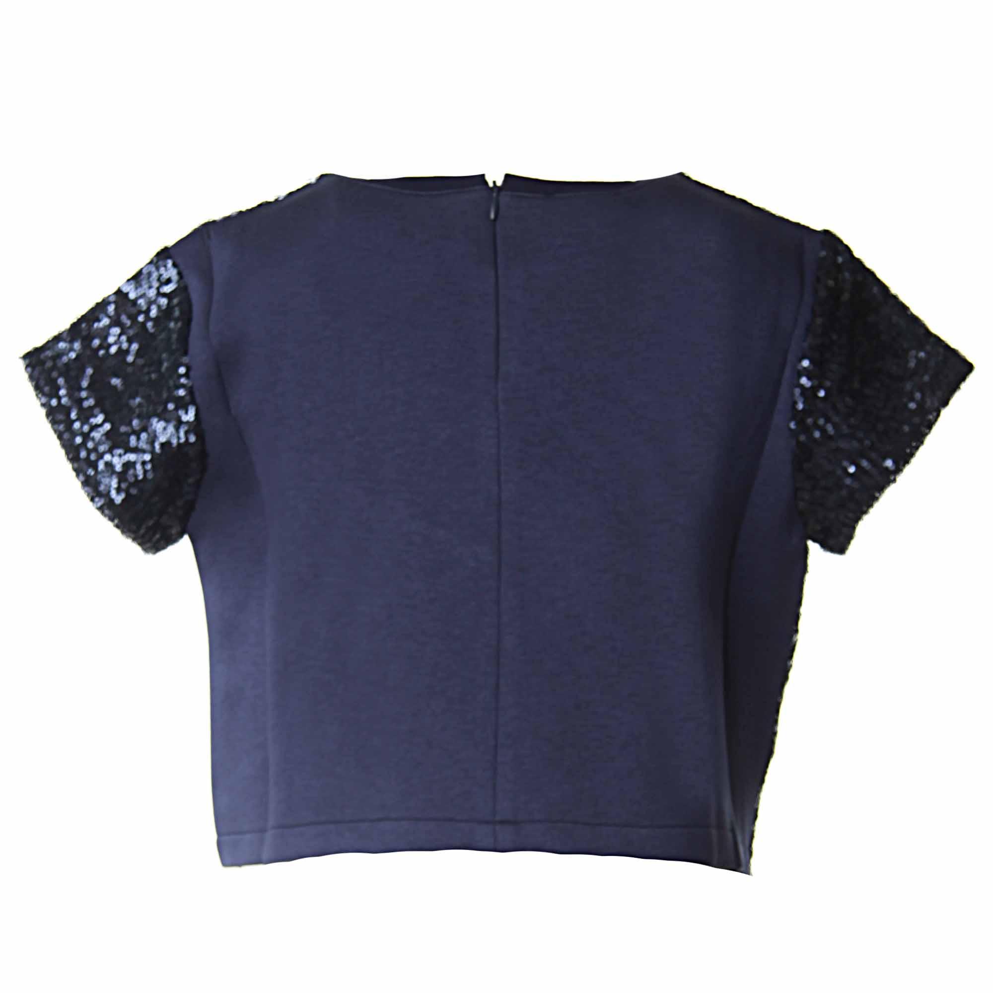 premium selection 4ed4a 3b5eb T-Shirt Bambina Blu Con Paillettes E Stella