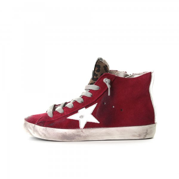 Golden Goose - SNEAKERS FRANCY ROSSA IN CAMOSCIO JUNIOR