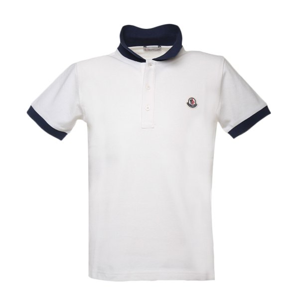 Moncler - POLO JUNIOR BIANCA E BLU