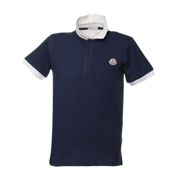 Moncler - POLO JUNIOR BLU E BIANCA