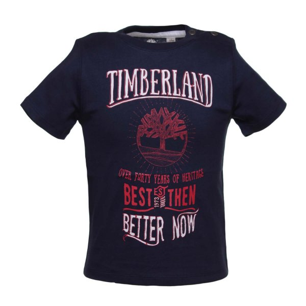 Timberland - T-SHIRT BABY BLU CON STAMPE