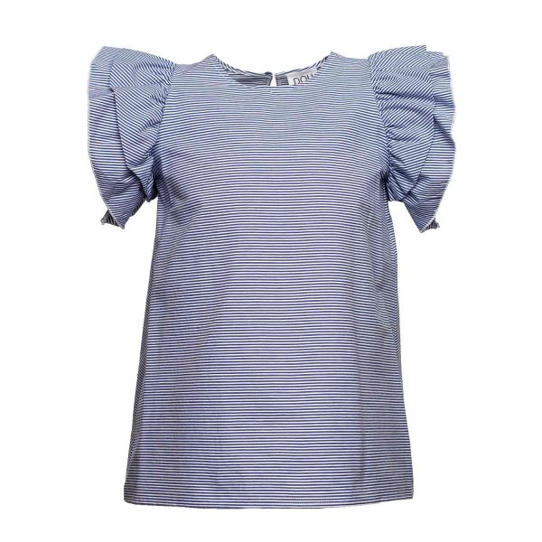 Douuod - T-SHIRT GIRL VOLANTS RIGHE BLU