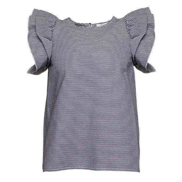 Douuod - T-SHIRT GIRL VOLANTS RIGHE NERE