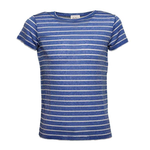 Douuod - T-SHIRT BLU RIGHE BAMBINA TEEN