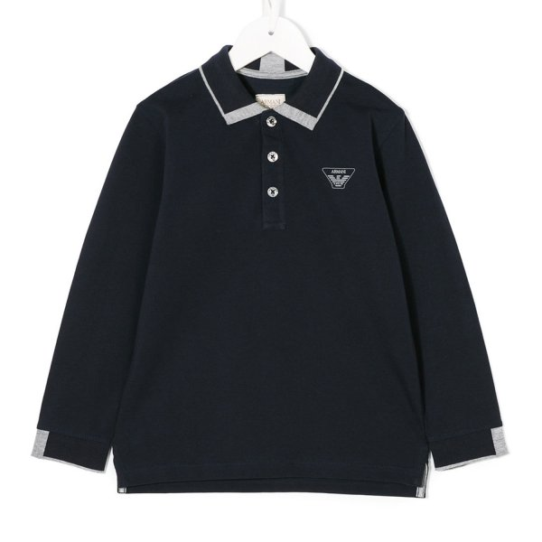 Armani Junior - Polo boy tre bottoni blu scuro