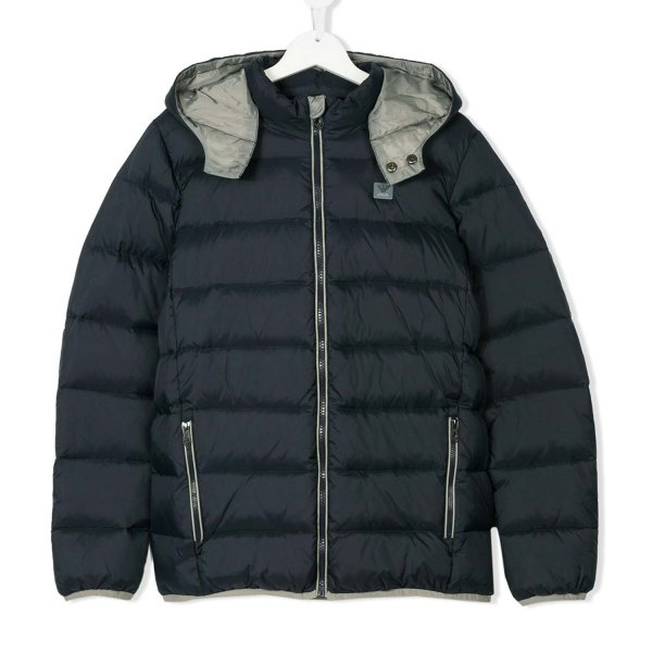 Armani Junior - PIUMINO BOY BLU NAVY E GRIGIO