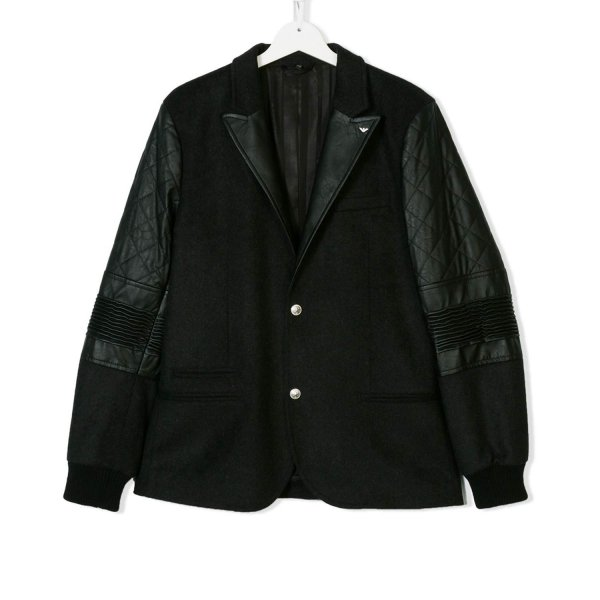 Armani Junior - BLAZER ECOPELLE E LANA BOY