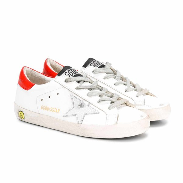 Golden Goose - Sneaker Super Star Bianca e Corallo Jr