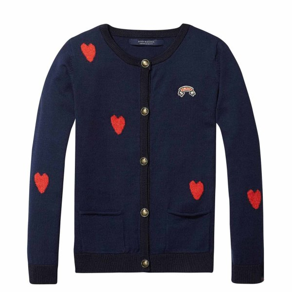 Scotch & Soda - CARDIGAN BLU A CUORI