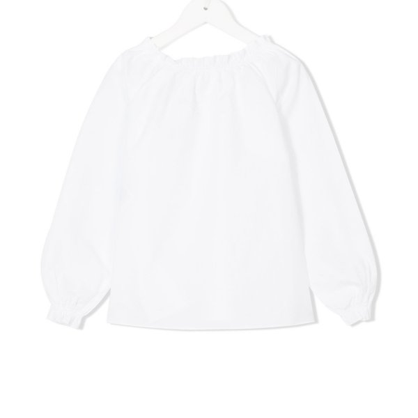 Douuod - BLUSA BIANCA CON ROUCHES