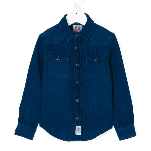 American Outfitters - CAMICIA CHAMBRAY BLU