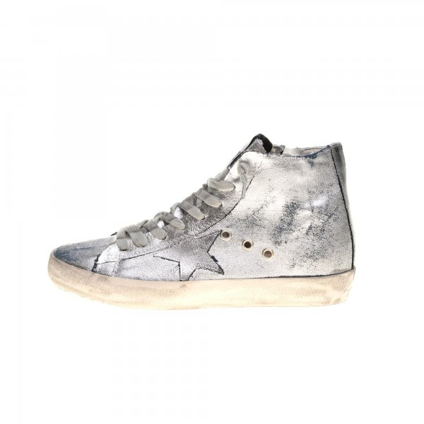 Golden Goose - SNEAKERS FRANCY ARGENTO IN DENIM DI COTONE JUNIOR