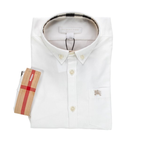 Burberry - CAMICIA OXFORD BIANCA JR TEEN