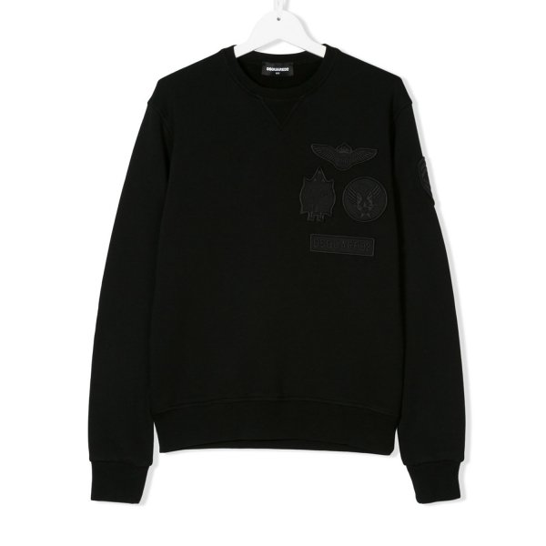 Dsquared2 - FELPA BOY NERA CON PATCH