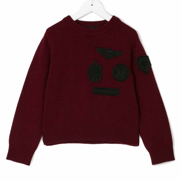 Dsquared2 - PULLOVER BOY BORDEAUX CON PATCH