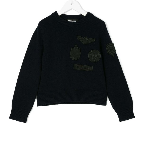Dsquared2 - PULLOVER BOY BLU CON PATCH