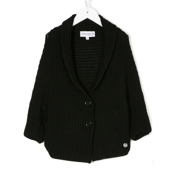 Simonetta - CARDIGAN NERO A COSTE GIRL