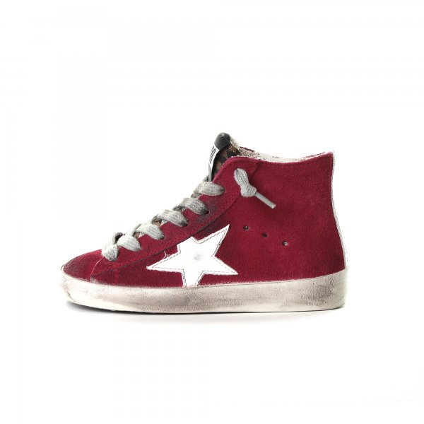 Golden Goose - BABY SNEAKERS FRANCY  ROSSA IN CAMOSCIO