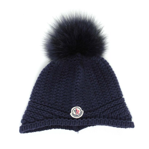 Moncler - Cappello ponpon baby blu