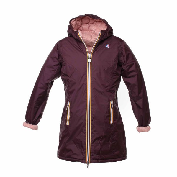 K-Way - Parka Girl Double Marrone e Rosa