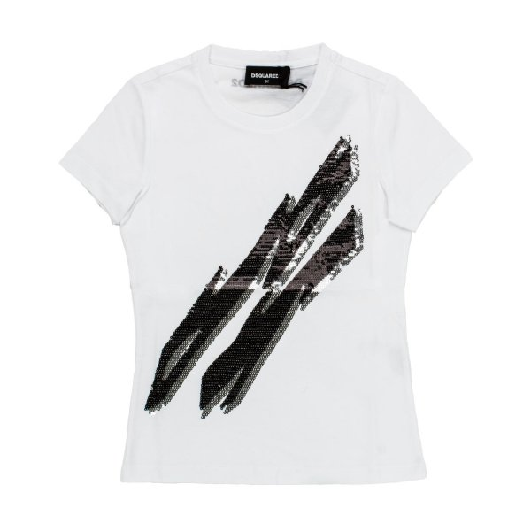 Dsquared2 - T-SHIRT GIRL BIANCA STRASS NERI