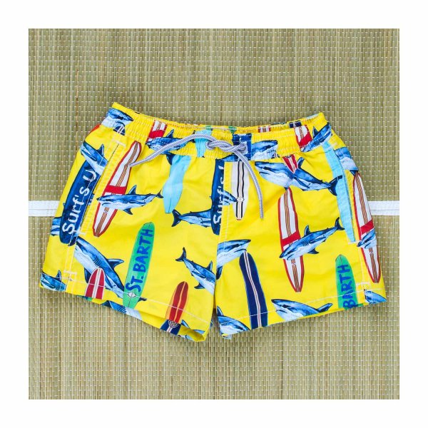 Mc2 Saint Barth - BOXER MARE SURF&SHARKS GIALLO BAMBINO TEEN