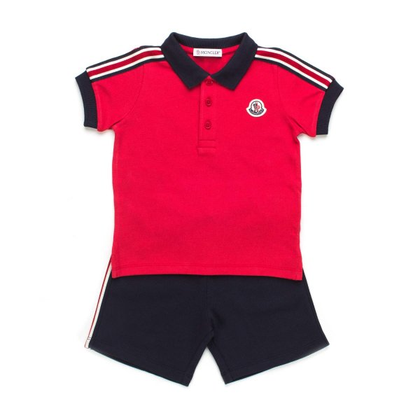 Moncler - COMPLETINO POLO BIMBO ROSSO BLU