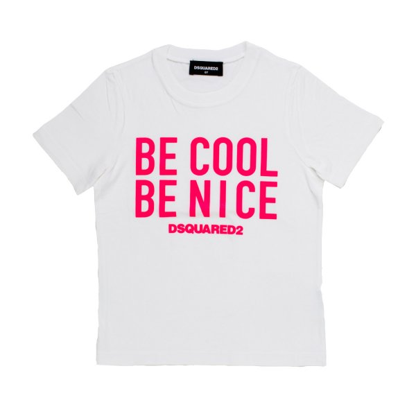 Dsquared2 - T-SHIRT BE COOL BIANCA E FUCSIA