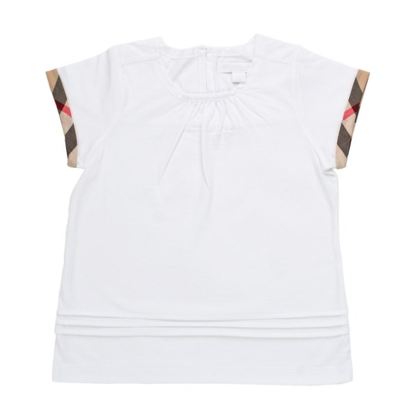 Burberry - TOP CHECK BIANCO BAMBINA