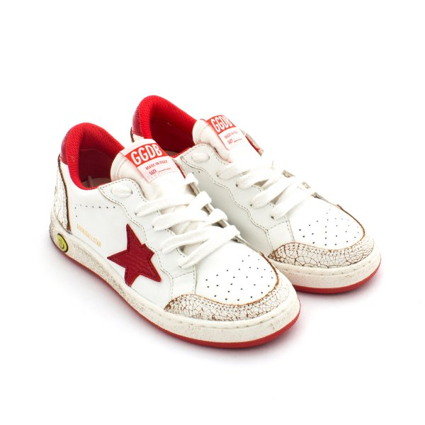 Golden Goose - Sneaker Ball Star Jr Bianca e Rossa