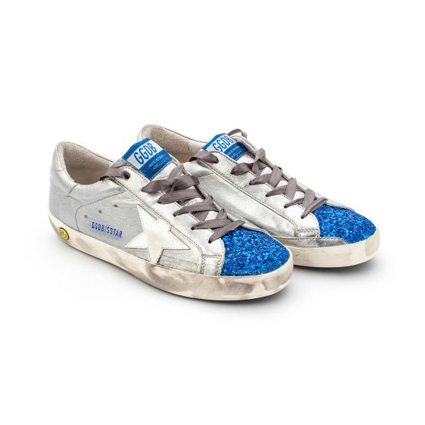 Golden Goose - SCARPA SUPER STAR SILVER E BLU GIRL