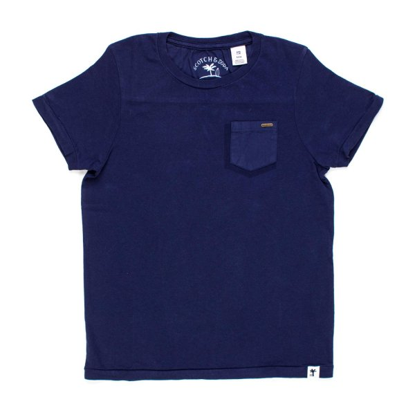 Scotch & Soda - T-SHIRT BLU COBALTO BAMBINO TEEN